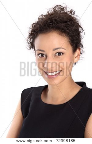 Isolated pretty business woman smiling at camera on white background