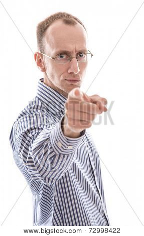 Business man pointing at camera isolated on white background - You