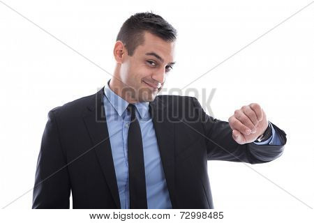 Attractive businessman on time flirting with camera