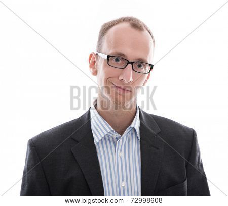Young manager wearing glasses smiling at camera,  kind nerd isolated on white background