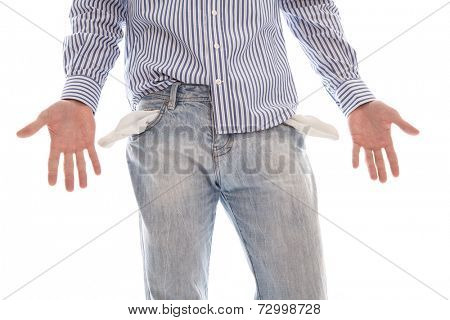 Close up of poor student broke - high fees isolated on white background