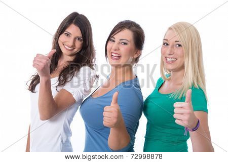 Group of happy trainees girls in first jobs with thumbs up isolated on white background