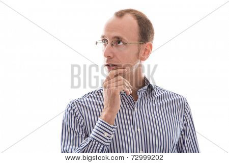 Business man with glasses and a blue shirt is thinking about something - isolated