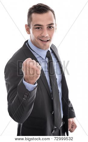Business: successful man in suit and tie with fist facing camera isolated on white background