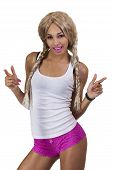 image of wig  - Light Complexion African American Woman Blond Wig - JPG