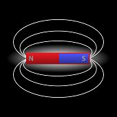 foto of south-pole  - isolated one magnet and magnetic field eps10 - JPG