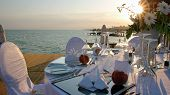 stock photo of marriage ceremony  - Luxury wedding reception by the sea. 