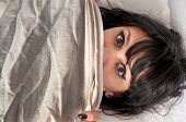 image of terrorism  - Woman waking up from a nightmare or night terror - JPG