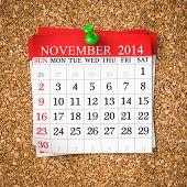 image of calendar 2014  - November 2014 Calendar on cork board 3d render - JPG