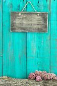 pic of log fence  - Blank old weathered sign hanging on antique green wooden door with log and autumn floral border - JPG