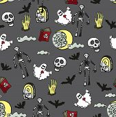 stock photo of drow  - Halloween doodles seamless pattern or background about death - JPG