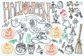 image of drow  - Halloween doodles icons set with text - JPG