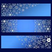 Постер, плакат: Set Of Banners Blue With 3D White Snowflakes