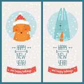 pic of rabbit year  - Happy new year card with fox and christmas rabbit - JPG