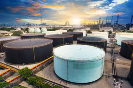 image of heavy  - oil storage tank in petrochemical refinery industry plant in petroleum and heavy industrial plant with beautiful land scape scene - JPG