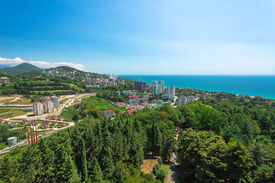 stock photo of olympiade  - Urban landscape of the city of Sochi Russia, outdoors shot ** Note: Soft Focus at 100%, best at smaller sizes - JPG