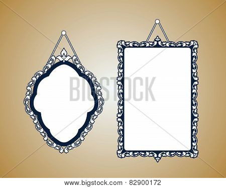 Vintage mirror frame. Hanging on the wall. Rich old frame. Vintage wallpaper with dots
