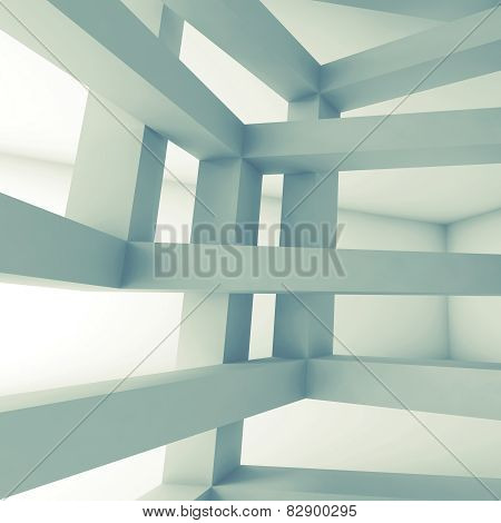 Square 3D Interior, Abstract Architecture Background
