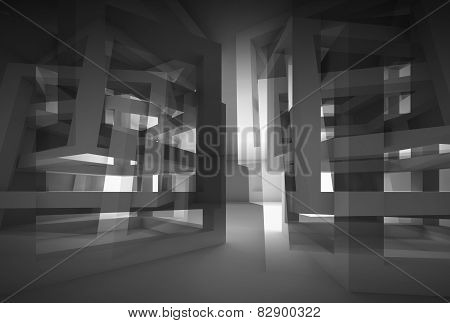 Abstract 3D Black Modern Interior With Reflections