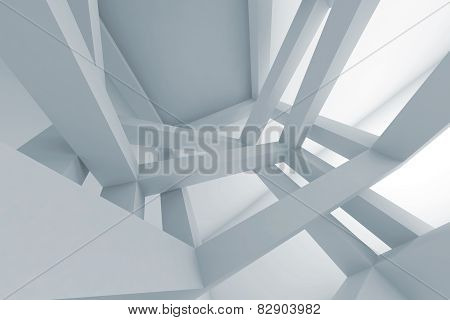 3D Abstract Background, Chaotic Braced Construction