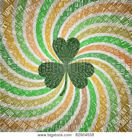 Saint Patricks Day Greeting Card with Clover Leaf on Abstract Geometric Fanning Twirl Rays Backgroun