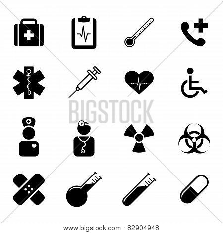 Set of black flat icons - medicine, health, science and healthcare