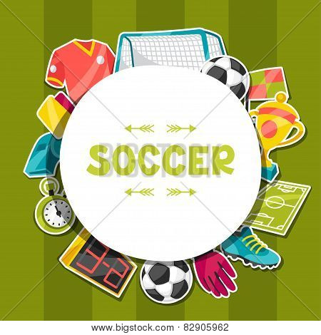 Sports background with soccer sticker symbols.