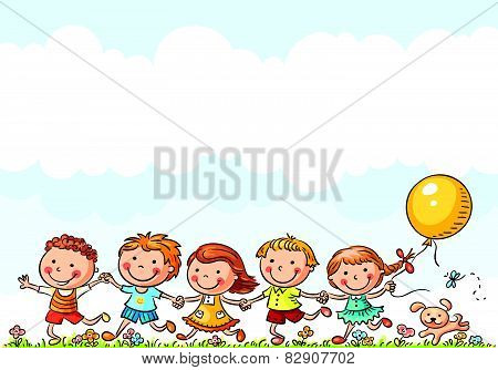 Happy Kids Running Outdoors