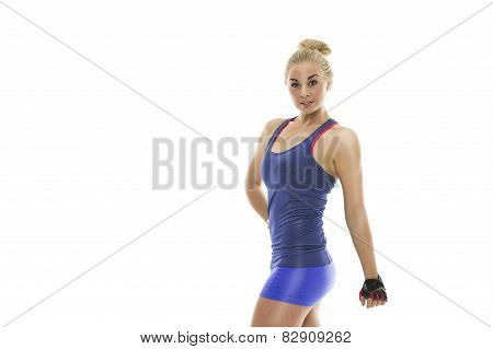 Strong Fit Young Woman In Blue Sportswear