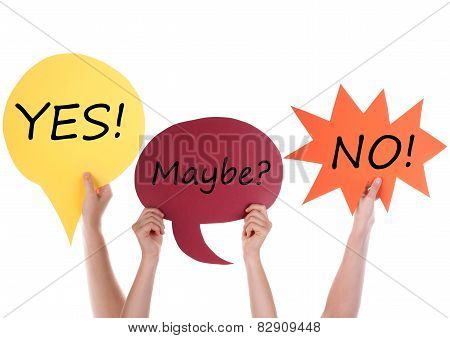 Three Speech Balloons With Yes Maybe No