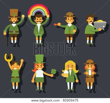 Leprechauns Ggnomes Characters set Celebration St. Patrick Icons Flat Design Icon Stylish Background