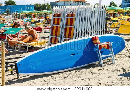 Tourists Sunbathe On  Beach In The Resort Town Bellaria Igea Marina, Rimini, Italy
