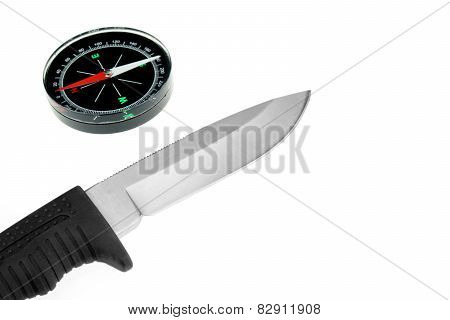 Army Knife And Compass Isolated