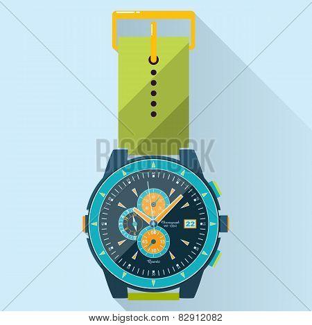 Flat Luxury Watches Illustration