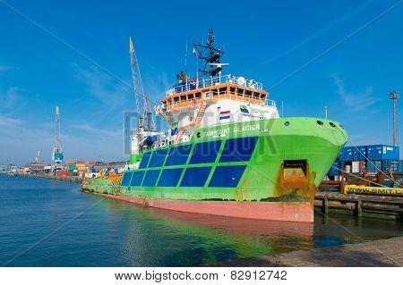 Tug Boat In Rotterdam Harbor