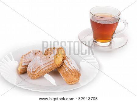 Tasteful Eclair with tea