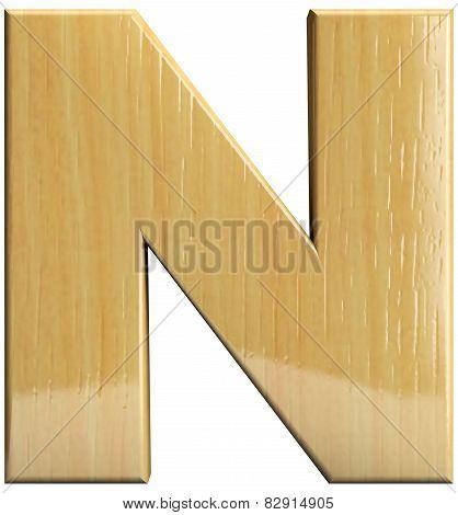 Wooden Letter N