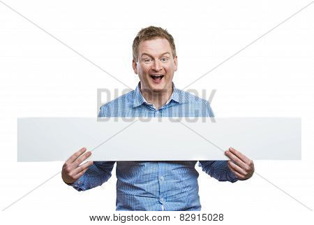 Man with blank sign board