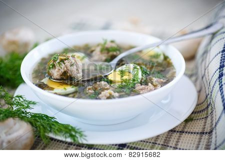 Sorrel Soup With Meatballs And Eggs