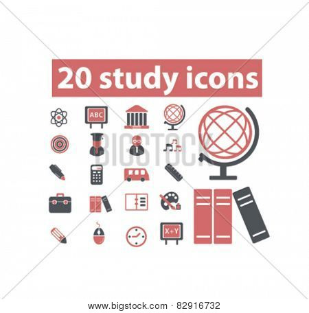 study icons set, vector