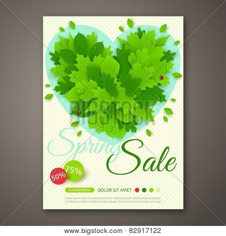 Spring Sale Design with Green Leaves.