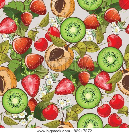 Seamless summer fruits pattern