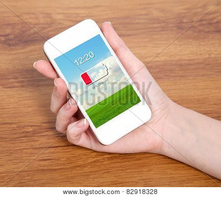 Woman Hand Holding A Touch White Phone With Low Battery On A Screen