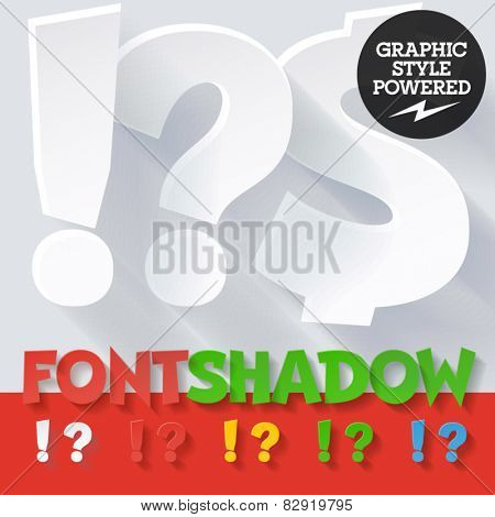 Modern funny flat alphabet with long ambient shadow. Optional colors. Symbols 1