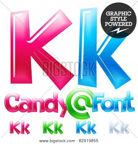 Children's candy font. Set of vector symbols. Letter K