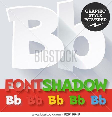 Modern funny flat alphabet with long ambient shadow. Optional colors. Letter B