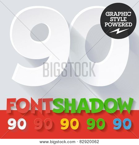 Modern funny flat alphabet with long ambient shadow. Optional colors. Numbers 9 0