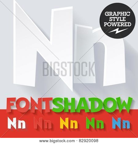 Modern funny flat alphabet with long ambient shadow. Optional colors. Letter N