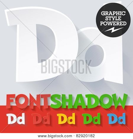 Modern funny flat alphabet with long ambient shadow. Optional colors. Letter D