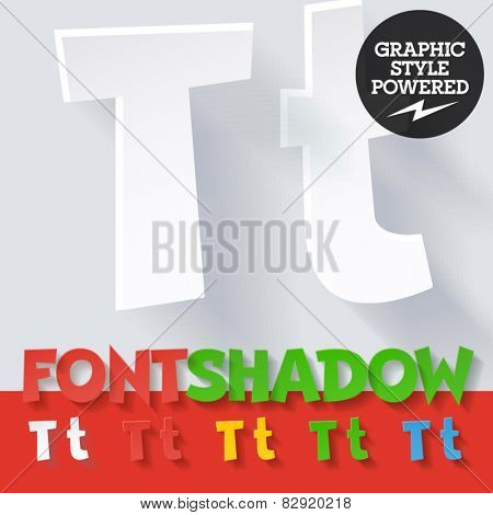 Modern funny flat alphabet with long ambient shadow. Optional colors. Letter T